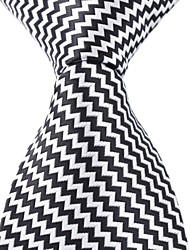 Black White Wavy Tie Men Adult Leisure Silk Jacquard Necktie