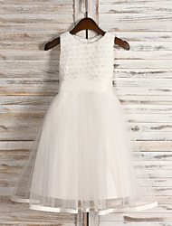 Flower Girl Dress - Longueur mollet A-line - Col ras du cou ( Tulle/Pailleté )