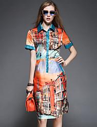Women's Casual Print Shift Dress , Shirt Collar Knee-length Satin
