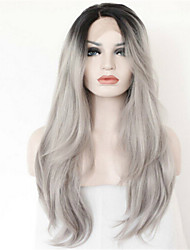 100% Virgin Brazilian Silky Straight Full Lace Wig 8A Grey Om     bre Straight Full Lace Human Hair Lace Wigs