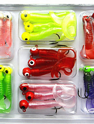 Soft Bait Lead Head Hook Lure 6.7Games/5Grams Combination Set Soft Fishing Lure Set Soft Bait Fishing Tackle