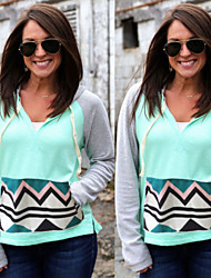 patchwork multi-couleurs des sueurs des femmes gagné& hoodies, sexy / capuche casual manches longues