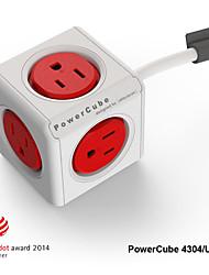 besteye® Allocacoc PowerCube 4304 / us Steckdose mit 5 Steckdosen 3m 10ft Verlängerungskabel reddot Steckdosenleiste