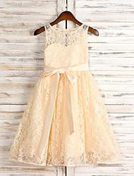 A-line Knee-length Flower Girl Dress - Chiffon