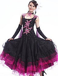 Ballroom Dance Outfits Women's Performance Spandex / Crepe /Rhinestones / Ruffles 4 Pcs Dress&Collar&2*Hand act
