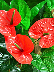 Touch Simulation Anthurium Plastic Plants Artificial Flowers