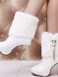 Women's Shoes New Arrival Europe Style Diamond Stiletto Heel Comfort Boots Casual Black / White