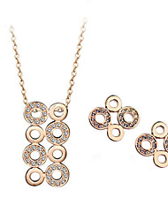 HKTC 18k Rose Gold Plated Crystal Round Connected Circle Stud Earrings and Necklace Set