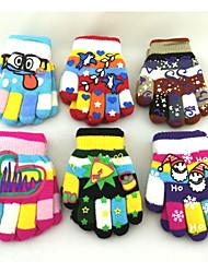 2-8 Years Lovely Children Winter Warm  Five Finger Printed Mittens