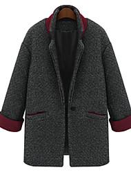 Damen Trench Coat  -  Leger / Arbeit Langarm Tweed