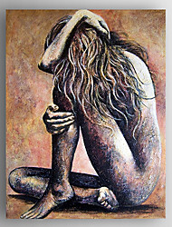 Oil Painting a Nude Woman Sitting Hand Painted Canvas with Stretched Framed