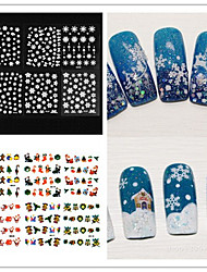 12PCS Mixed  3D Christmas Snowflake Feather  Nail Art Stickers