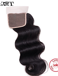 14 Natural Black Body Wave Human Hair Closure Medium Brown Swiss Lace 36g gram Cap Size