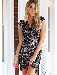 Women's Lace White / Black Dress (lace)