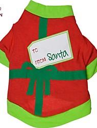 Manteaux / T-shirt - Chiens / Chats - Toutes Saisons - Noël / Nouvel An - Rouge - en Coton - XS / S / M / L