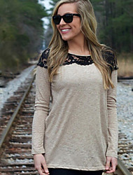 LYOU  Women's Patchwork / Lace Brown / Purple / Gray Tops & Blouses , Vintage / Sexy / Work Round Long Sleeve