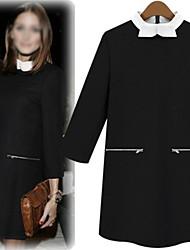 Vestidos ( Algodón )- Cosecha / Casual / Fiesta Cuello alto Manga Larga para Mujer