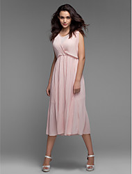 Women's Loose Dress,Solid Above Knee Sleeveless Pink Polyester Summer