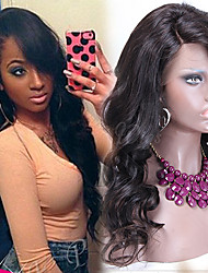 "Unprocessed 10""-24"" Brazilian Virgin Hair Natural Color Wavy Full Lace Wig With Side Bang 130% Density Human Hair Wigs"