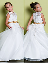 Lanting Bride A-line Floor-length Flower Girl Dress - Organza Sleeveless Jewel with Appliques