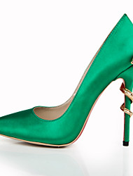 Women's Shoes Silk Stiletto Heel Heels / Pointed Toe Heels Wedding / Party & Evening / Dress Green