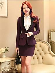 Women's Solid Red / Black / Purple Blazer , Sexy / Bodycon / Work Shirt Collar Long Sleeve (Suit + Dress)