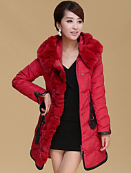 WARMMER Women's Solid Color Red / Black / Yellow Coats & Jackets , Casual Stand Long Sleeve