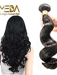 3pcs / lot sin procesar onda floja extensiones virginales del pelo peruano humanos pelo negro 8 'natural' - 30 '' pelo teje