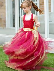 Robe de Demoiselle d'Honneur Fille - Mode de bal Traîne moyenne Sans manches Tulle / Polyester
