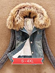 Women's Plus Size Blue Denim Jacket, Faux Fur Collar Long Knit Sleeve Fleece Lining
