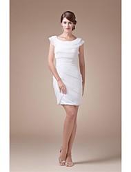 Sheath/Column Wedding Dress - Ivory Short/Mini Scoop Satin