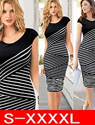 VICONE Women's Short Sleeve Sexy Bodycon Stripe Slim Dresses