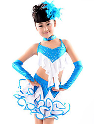 Latin Dance Outfits Children's Performance Cotton Polyester Spandex Ruffles 5 Pieces Top Skirt Gloves Neckwear
