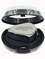 Full Metal Magnifying Glass 40 Times With LED Lights With Paper Money Jade Jewelry and Paintings Signed Magnifier