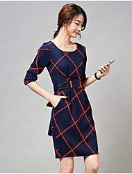 Women's Check Navy Blue Dress , Sexy / Casual Round Neck ¾ Sleeve