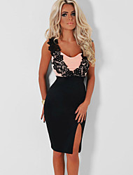 Women's Black and Peach Lace Detail Midi Dress