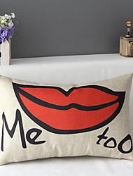 50cm*30cm Red Lips Me Too Cotton / Linen Cotton&linen Waist Pillow Cover / Throw Pillow With No Insert