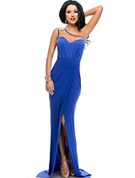 Women's Asymmetric Shoulder High Split Prom Dress