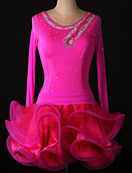 Wir werden Latin Tanzkleider&Röcke Frauen Leistung / Training Spandex / Crepe / Viskose Kristalle / Strass / Rüschen