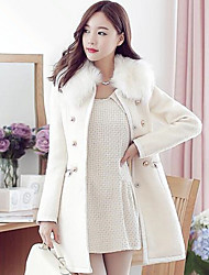Women's Solid Color White / Black / Brown Coats & Jackets , Casual V-Neck Long Sleeve