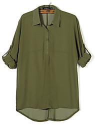 Women's  Lapel Solid color Loose Shirt