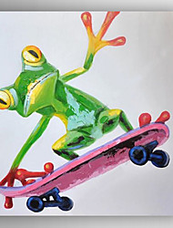 Oil Painting a Frog skiing Hand Painted Canvas with Stretched Framed Ready to Hang