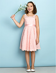 Lanting Bride Knee-length Lace Junior Bridesmaid Dress - Mini Me A-line Scoop with Lace