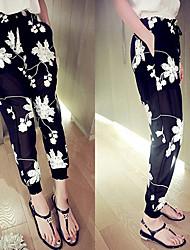 Pantalones ( Algodón )- Casual Tiro Medio Pantalones Harén para Mujer