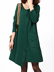 Women's Solid Black / Green / Orange Dress , Casual Round Neck Long Sleeve