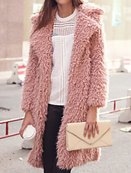 Winni Women's Solid Color Pink / Black / Gray Coats & Jackets , Casual Tailored Collar Long Sleeve