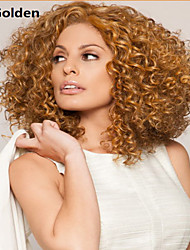 Women's Fashionable  Golden Blonde Medium Length Curly Wigs with Side Bang