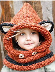 2015 Winter Warm Girls Lovely Fox Scarf Cap Set Wool Knitted Cap Baby Infant Children's Hats Kids Crochet Hooded Scarf