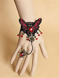 Vintage Black Lace Diamond Bracelet with Ring Set