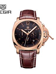 MEGIR® 2015 Fashion Men Quartz Watches with 3 Small Dial Luxury Brands Leather Strap Pointer with Luminous Cool Watch Unique Watch